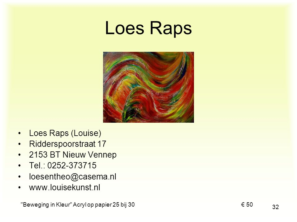 Beweging in Kleur Acryl op papier 25 bij 30 € 50
