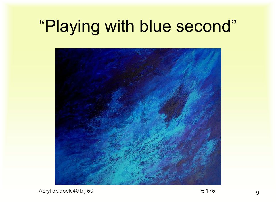 Playing with blue second