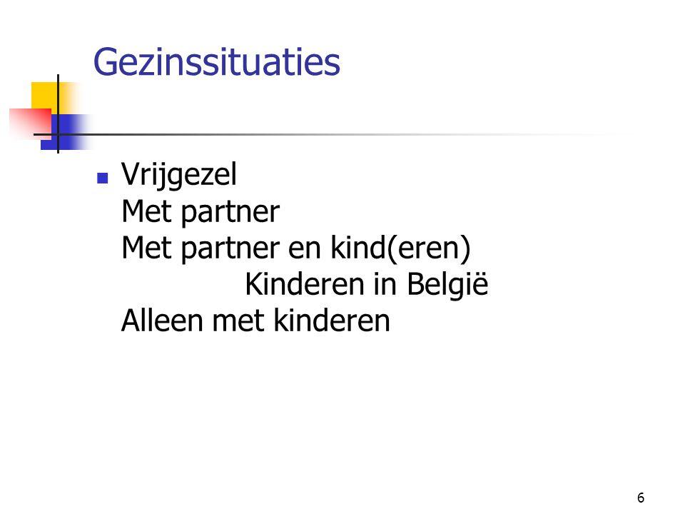 Gezinssituaties Vrijgezel Met partner Met partner en kind(eren) Kinderen in België Alleen met kinderen.