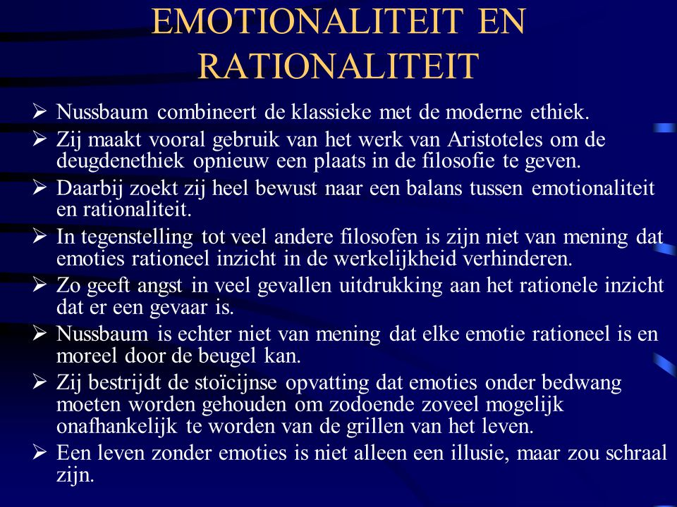 EMOTIONALITEIT EN RATIONALITEIT