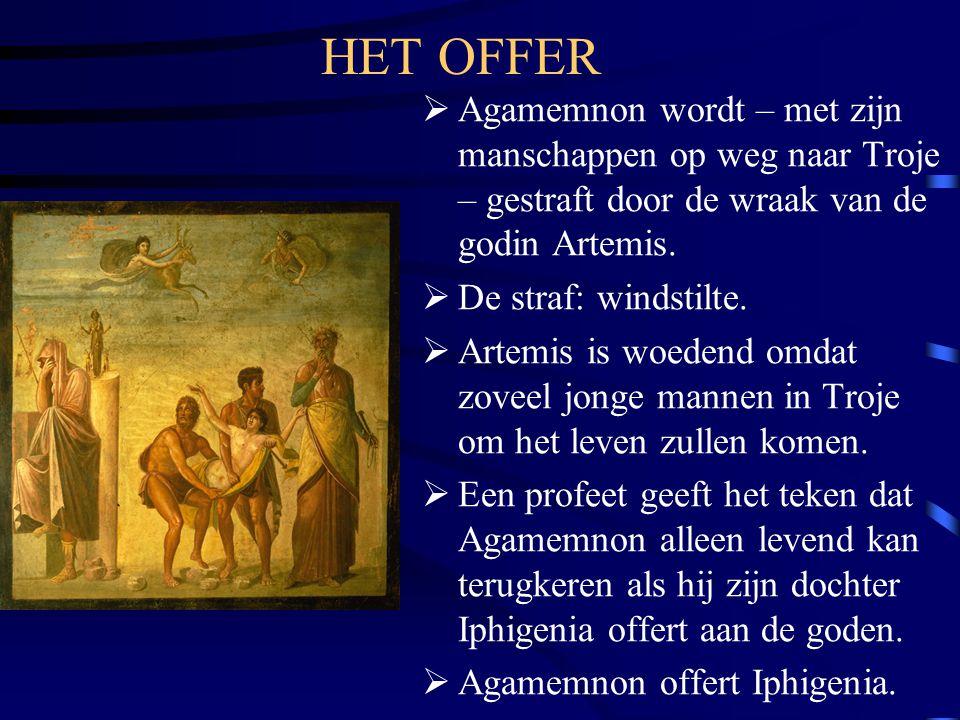HET OFFER Agamemnon wordt – met zijn manschappen op weg naar Troje – gestraft door de wraak van de godin Artemis.