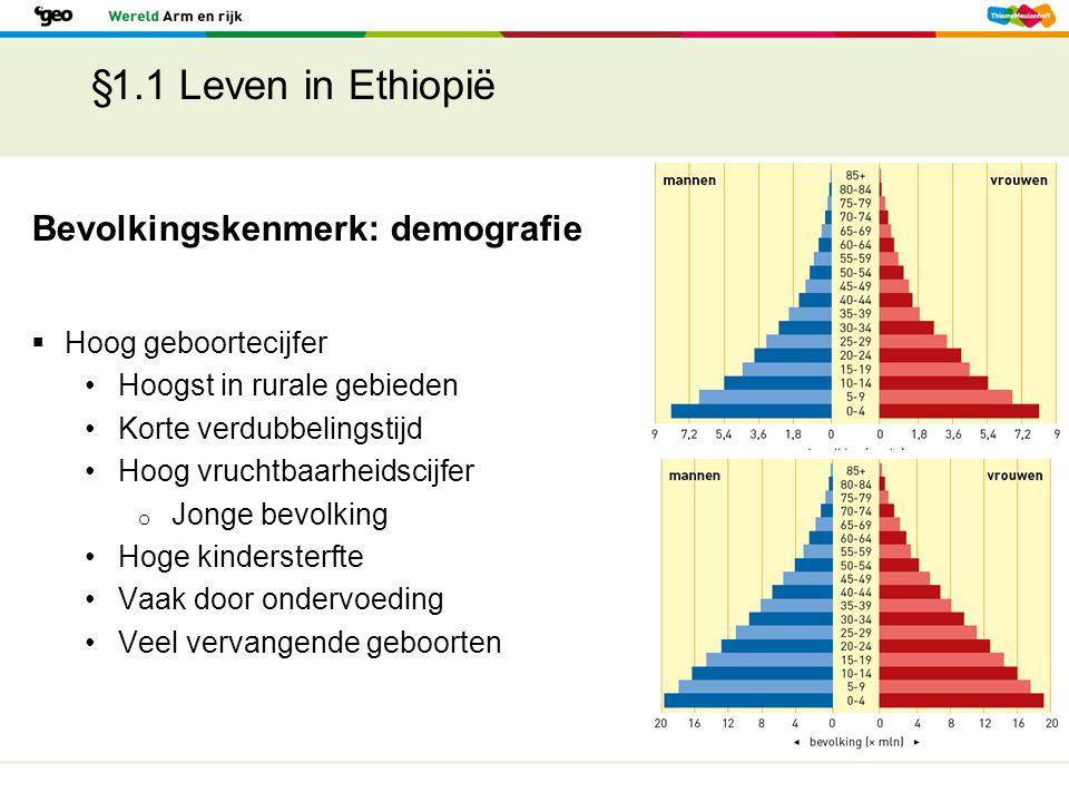 §1.1 Leven in Ethiopië Bevolkingskenmerk: demografie