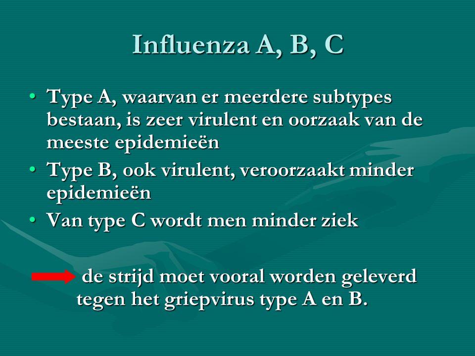 Influenza A, B, C Type A, waarvan er meerdere subtypes bestaan, is zeer virulent en oorzaak van de meeste epidemieën.