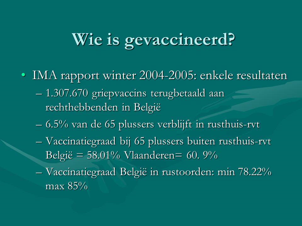 Wie is gevaccineerd IMA rapport winter 2004-2005: enkele resultaten