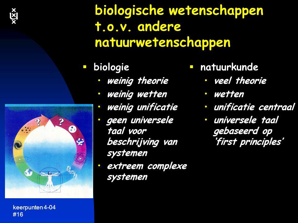biologische wetenschappen t.o.v. andere natuurwetenschappen