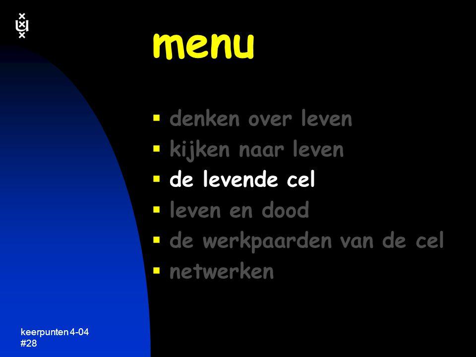 menu denken over leven kijken naar leven de levende cel leven en dood