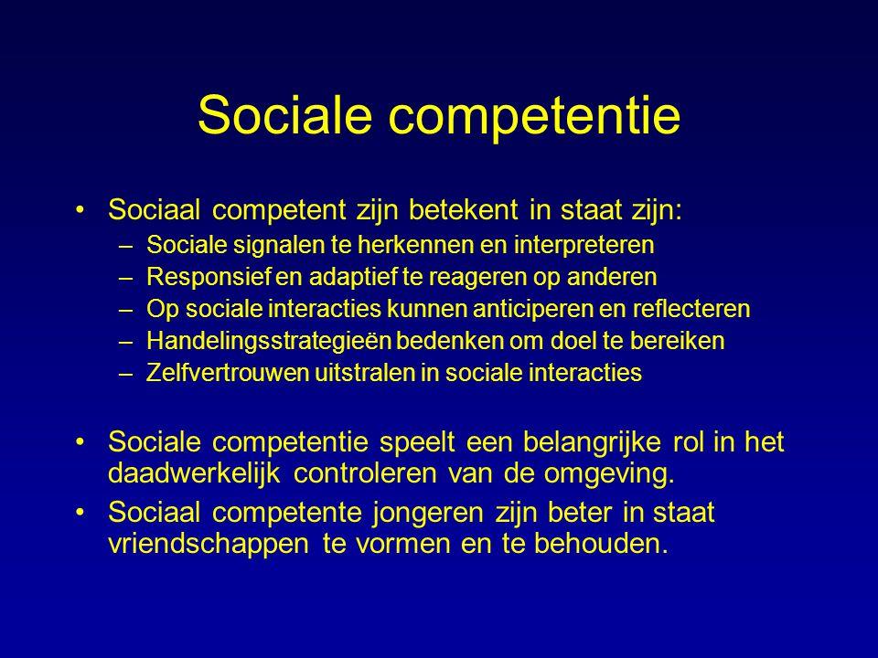 Sociale competentie Sociaal competent zijn betekent in staat zijn: