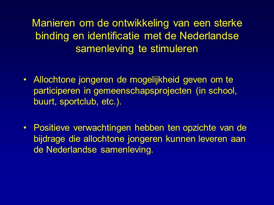 Manieren om de ontwikkeling van een sterke binding en identificatie met de Nederlandse samenleving te stimuleren