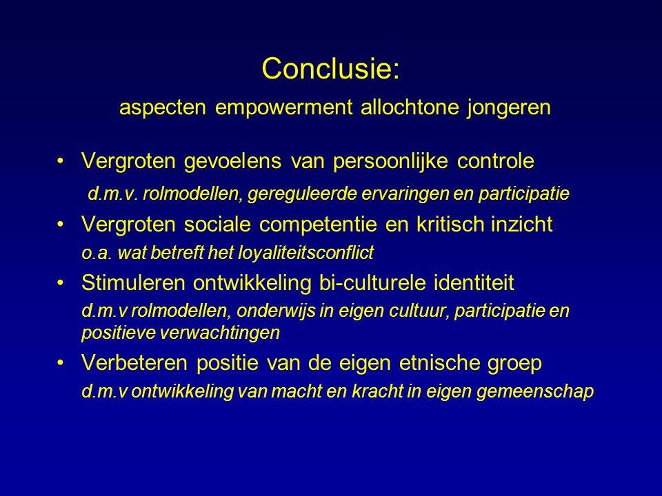 Conclusie: aspecten empowerment allochtone jongeren