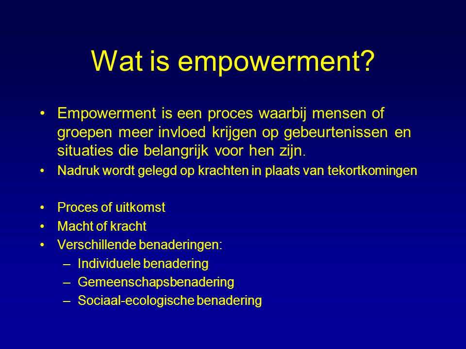 Wat is empowerment