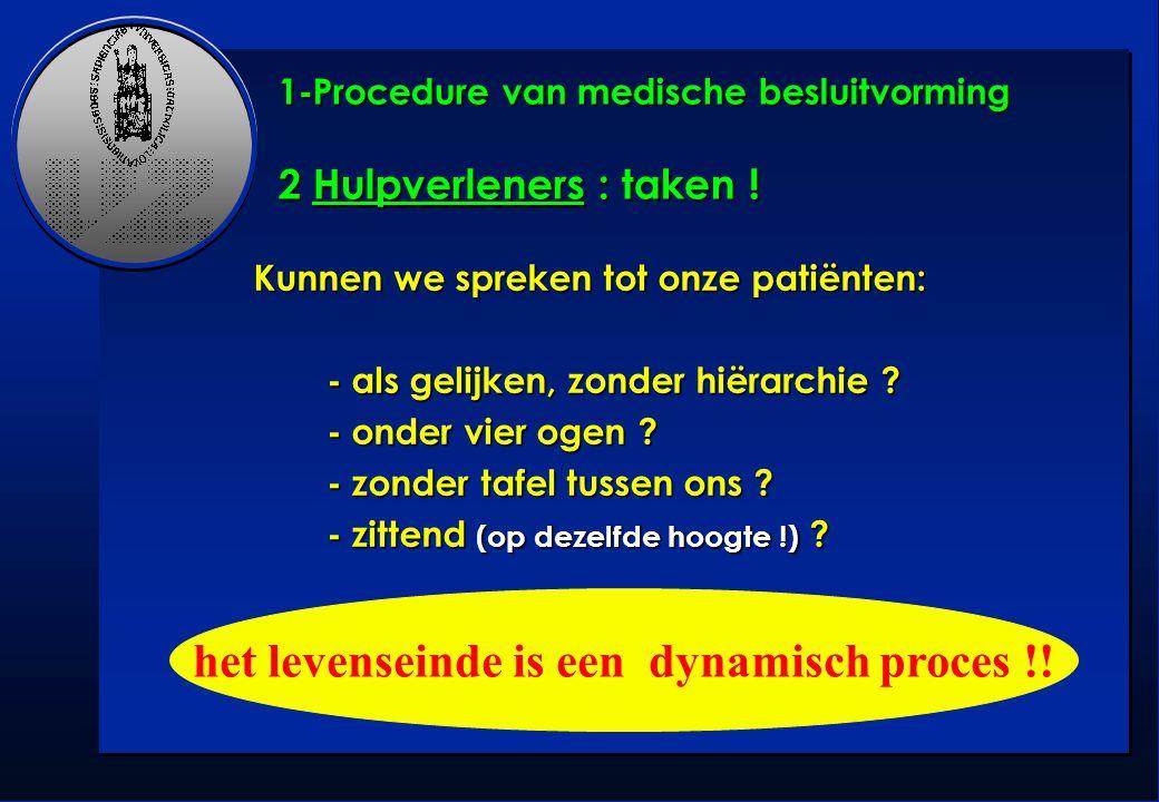 1-Procedure van medische besluitvorming 2 Hulpverleners : taken !