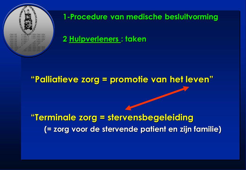 1-Procedure van medische besluitvorming 2 Hulpverleners : taken