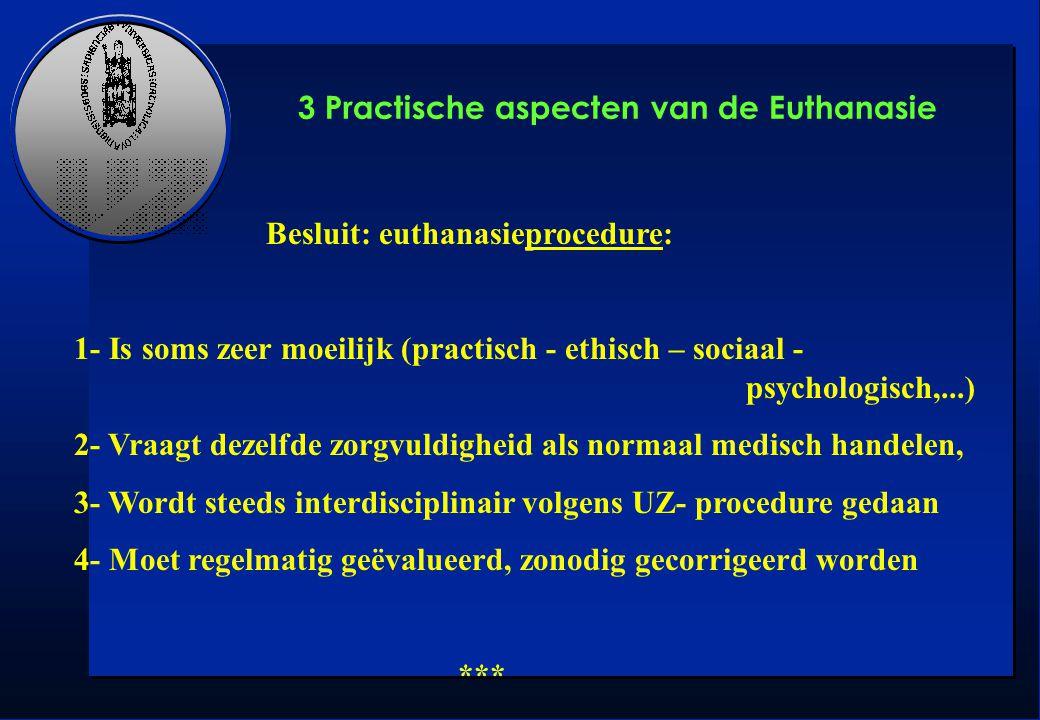 3 Practische aspecten van de Euthanasie