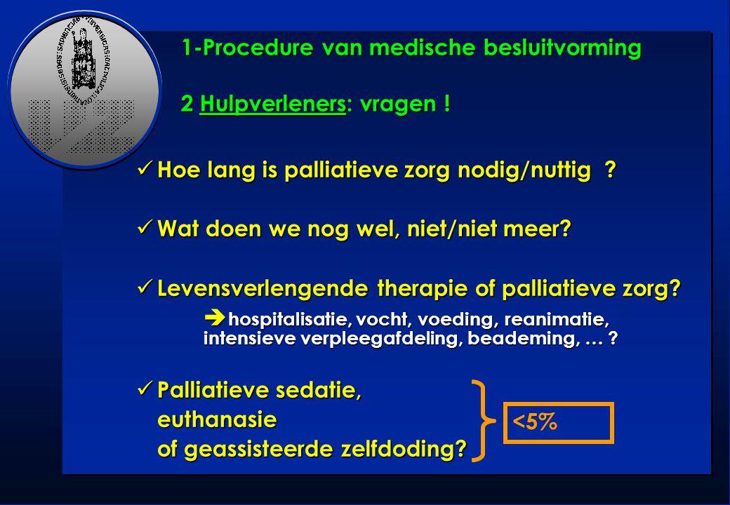 1-Procedure van medische besluitvorming 2 Hulpverleners: vragen !