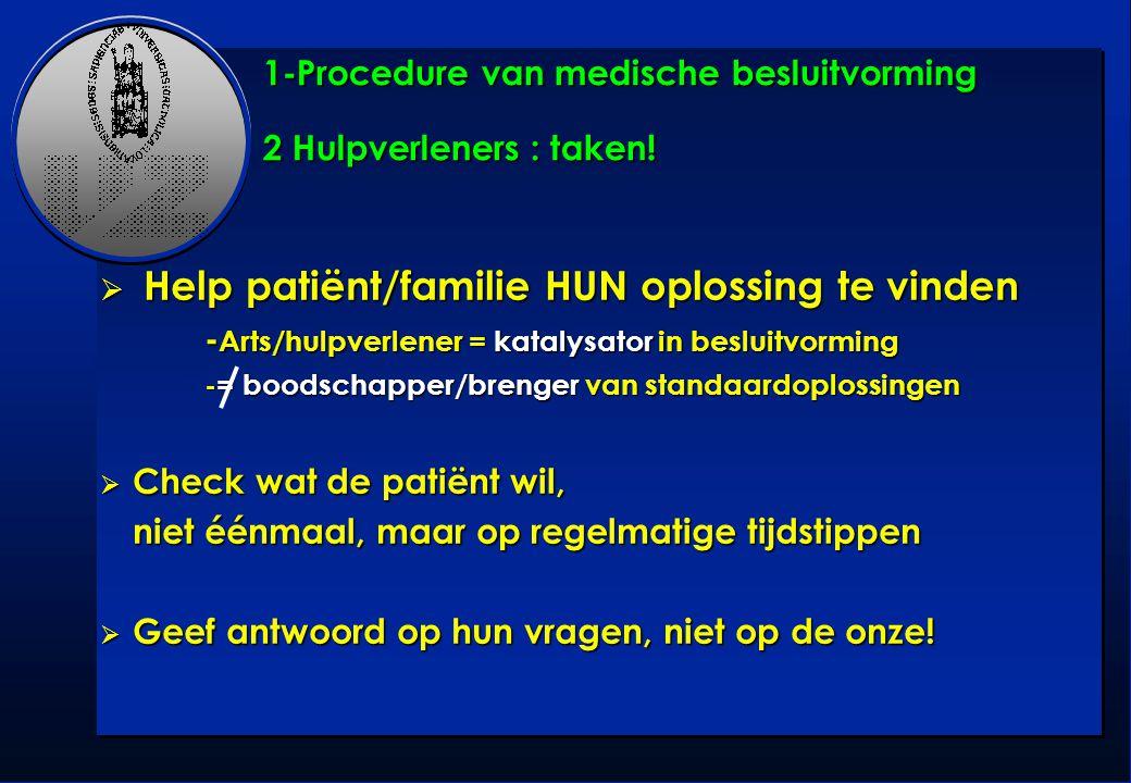 1-Procedure van medische besluitvorming 2 Hulpverleners : taken!