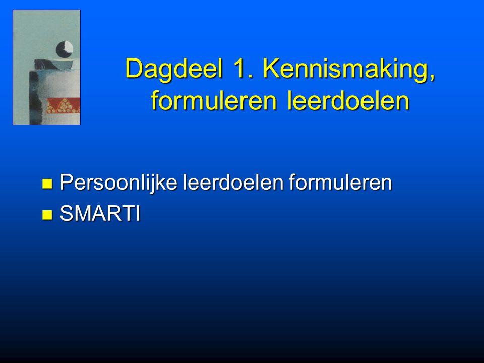 Dagdeel 1. Kennismaking, formuleren leerdoelen