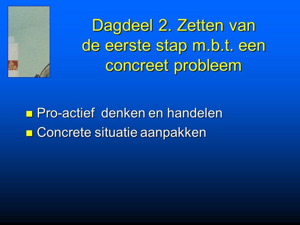 Dagdeel 2. Zetten van de eerste stap m.b.t. een concreet probleem