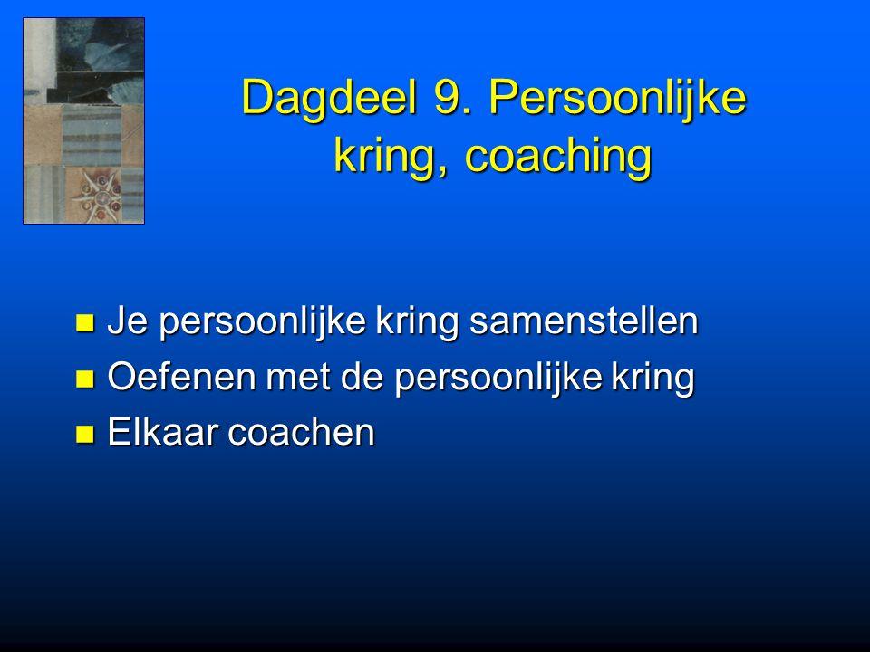 Dagdeel 9. Persoonlijke kring, coaching