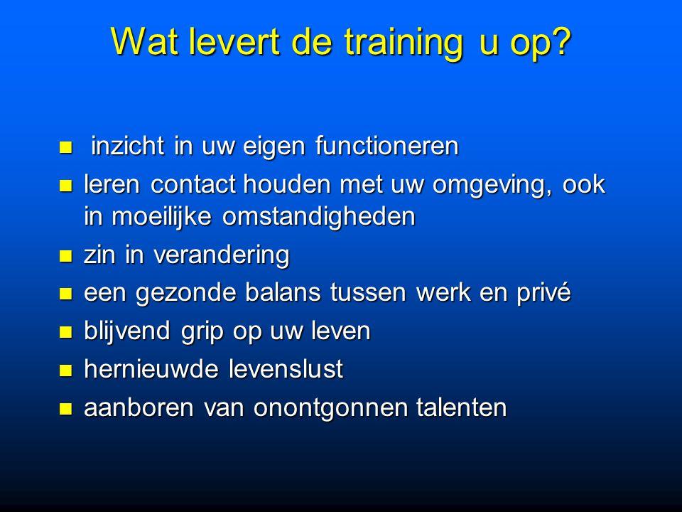 Wat levert de training u op