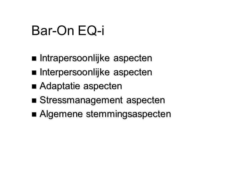 Bar-On EQ-i Intrapersoonlijke aspecten Interpersoonlijke aspecten