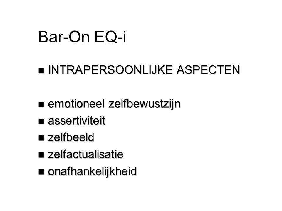 Bar-On EQ-i INTRAPERSOONLIJKE ASPECTEN emotioneel zelfbewustzijn