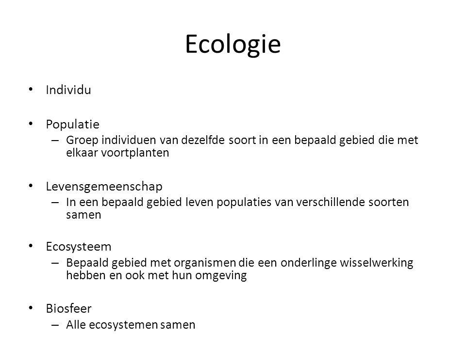 Ecologie Individu Populatie Levensgemeenschap Ecosysteem Biosfeer