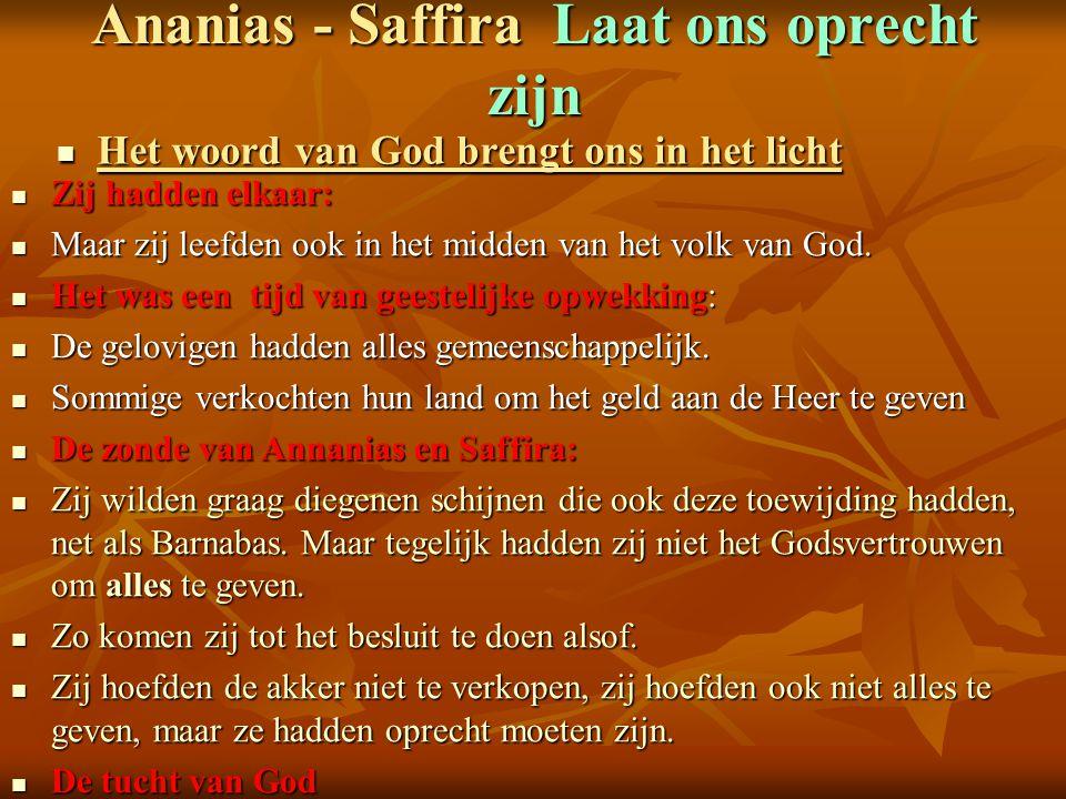 Ananias - Saffira Laat ons oprecht zijn