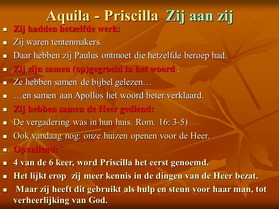 Aquila - Priscilla Zij aan zij
