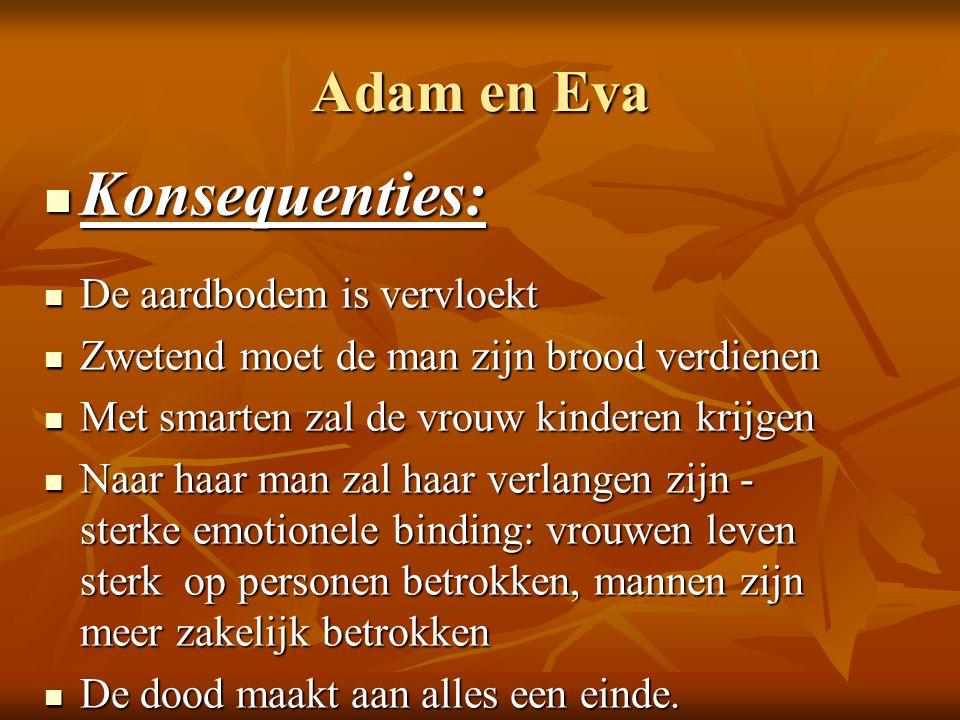 Konsequenties: Adam en Eva De aardbodem is vervloekt