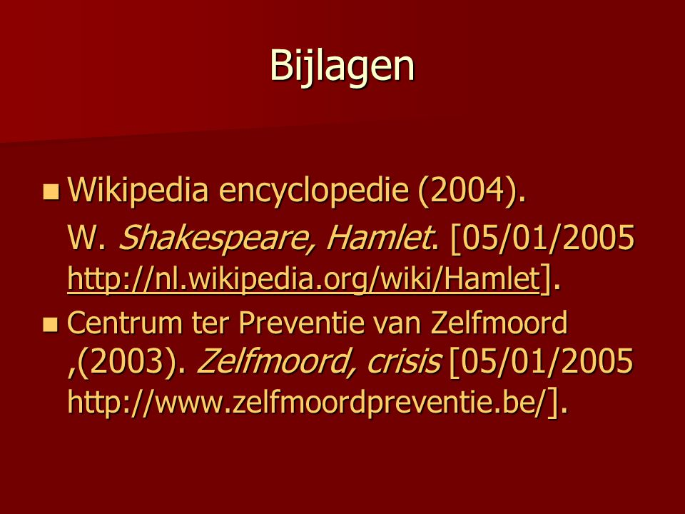 Bijlagen Wikipedia encyclopedie (2004).