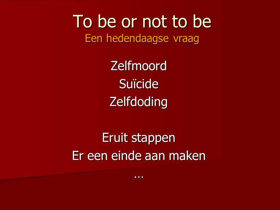 To be or not to be Een hedendaagse vraag