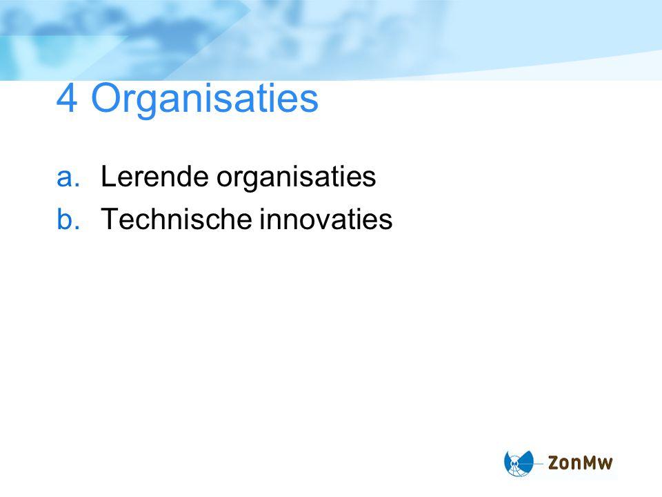 4 Organisaties Lerende organisaties Technische innovaties