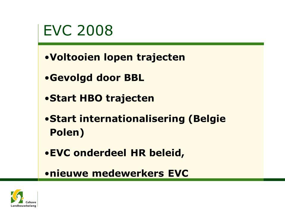 EVC 2008 Voltooien lopen trajecten Gevolgd door BBL