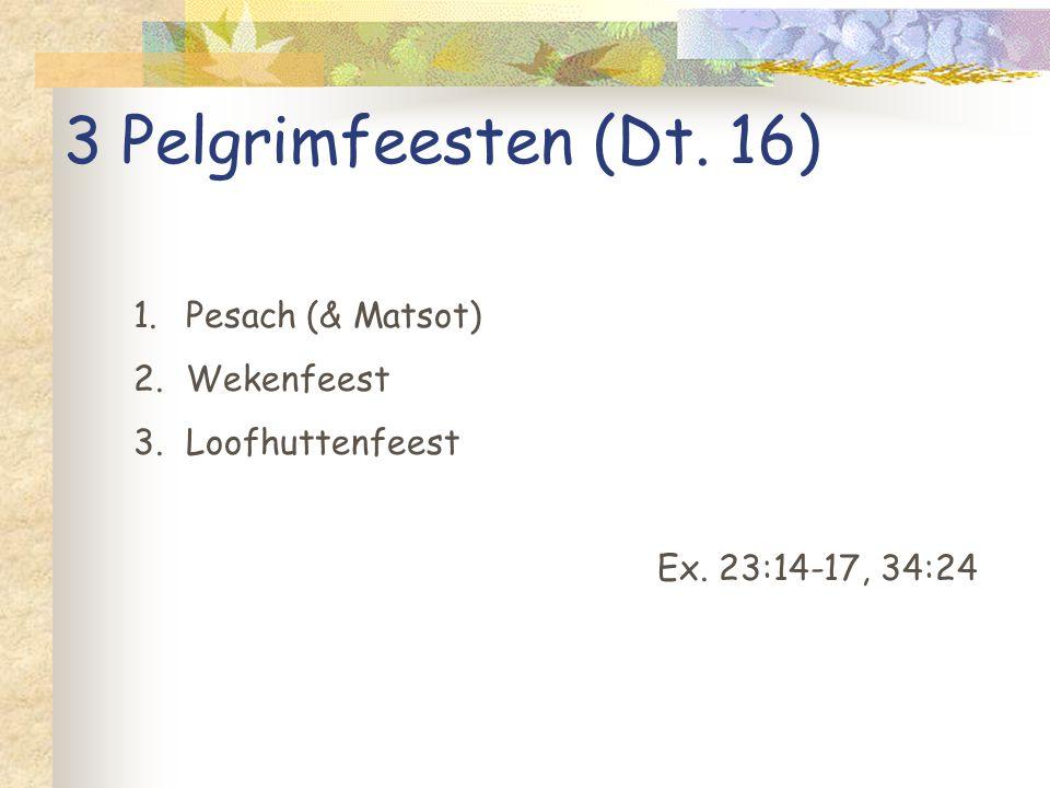 3 Pelgrimfeesten (Dt. 16) Pesach (& Matsot) Wekenfeest Loofhuttenfeest