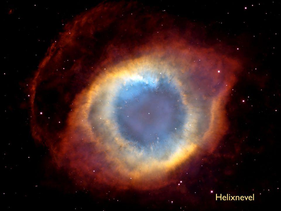 Helixnevel. Door dat opzwellen zullen de buitenlagen van een ster steeds verder uitdijen en niet meer op de zon terugvallen. Er ontstaat dan wat in de sterrenkunde een planetaire nevel wordt genoemd. Wat er van de oorspronkelijke ster nog overblijft is de withete kern, die ongeveer zo groot is als de aarde maar een gewicht van iets minder dan die van de oorspronkelijke ster. We spreken in dat geval dan van een witte dwerg .