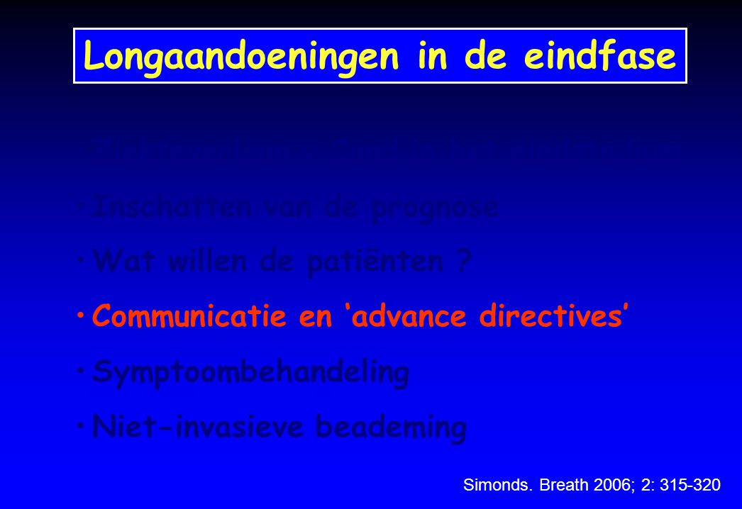 Longaandoeningen in de eindfase