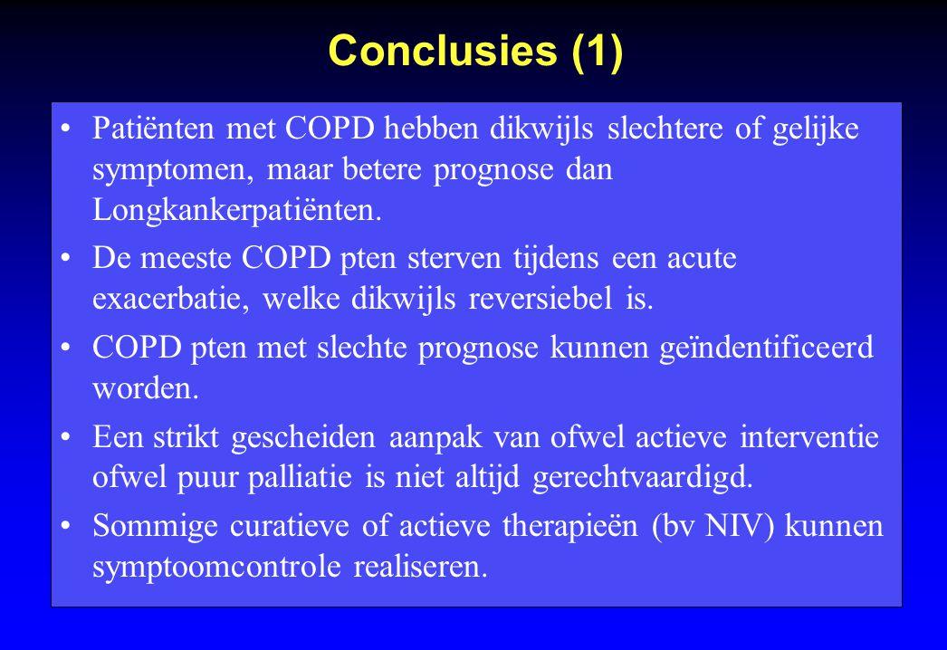 Conclusies (1) Patiënten met COPD hebben dikwijls slechtere of gelijke symptomen, maar betere prognose dan Longkankerpatiënten.