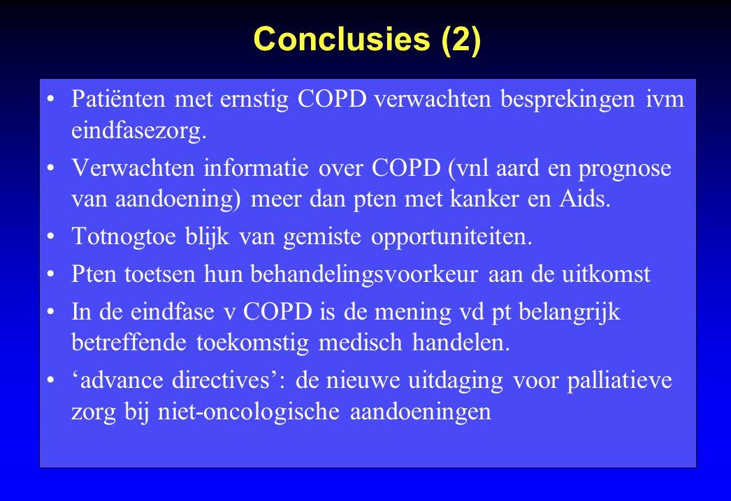 Conclusies (2) Patiënten met ernstig COPD verwachten besprekingen ivm eindfasezorg.