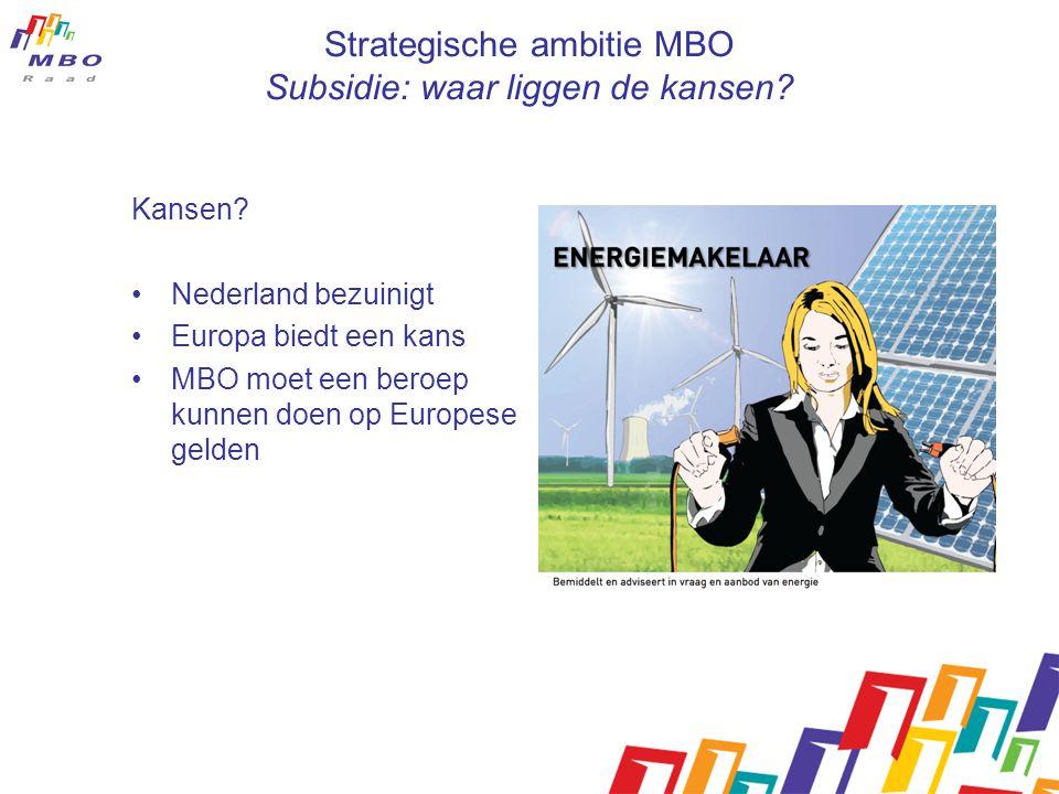 Strategische ambitie MBO Subsidie: waar liggen de kansen