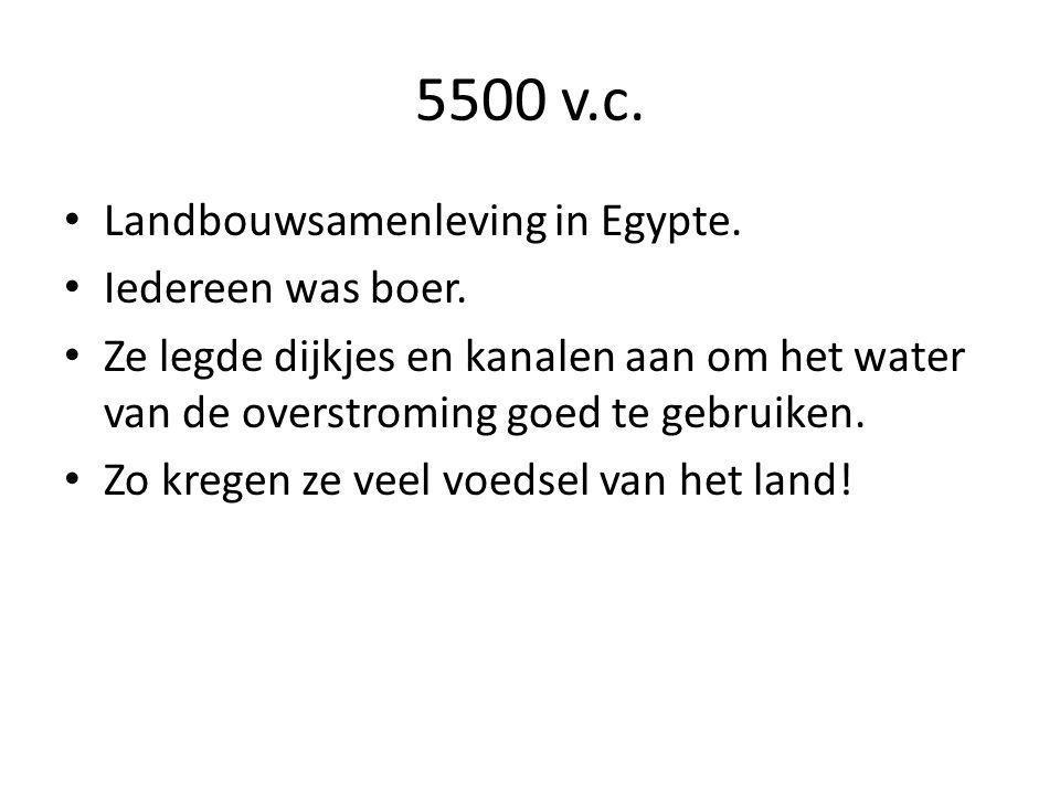 5500 v.c. Landbouwsamenleving in Egypte. Iedereen was boer.
