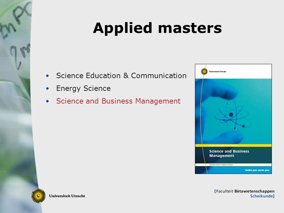 Applied masters Science Education & Communication Energy Science