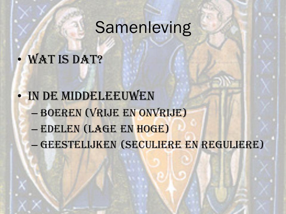 Samenleving Wat is dat In de middeleeuwen Boeren (vrije en onvrije)