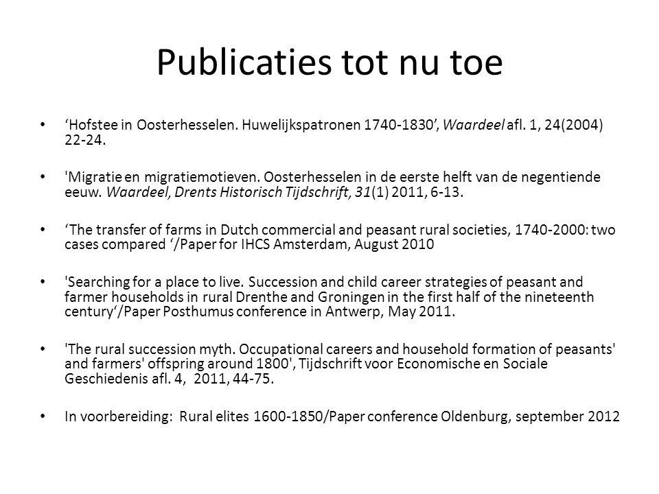 Publicaties tot nu toe 'Hofstee in Oosterhesselen. Huwelijkspatronen 1740-1830', Waardeel afl. 1, 24(2004) 22-24.