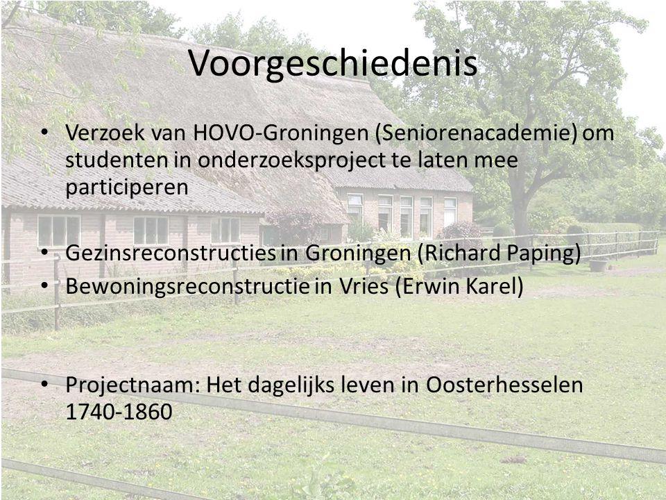 Voorgeschiedenis Verzoek van HOVO-Groningen (Seniorenacademie) om studenten in onderzoeksproject te laten mee participeren.
