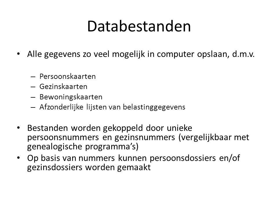 Databestanden Alle gegevens zo veel mogelijk in computer opslaan, d.m.v. Persoonskaarten. Gezinskaarten.
