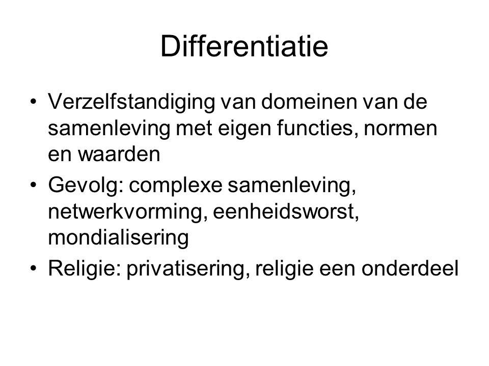 Differentiatie Verzelfstandiging van domeinen van de samenleving met eigen functies, normen en waarden.