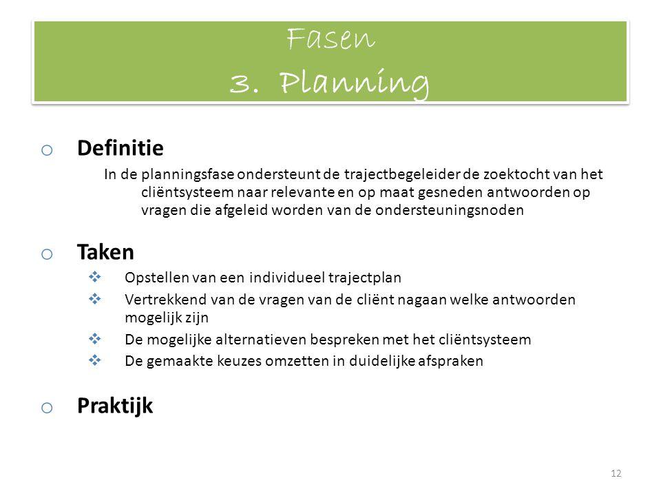 Fasen 3. Planning Definitie Taken Praktijk