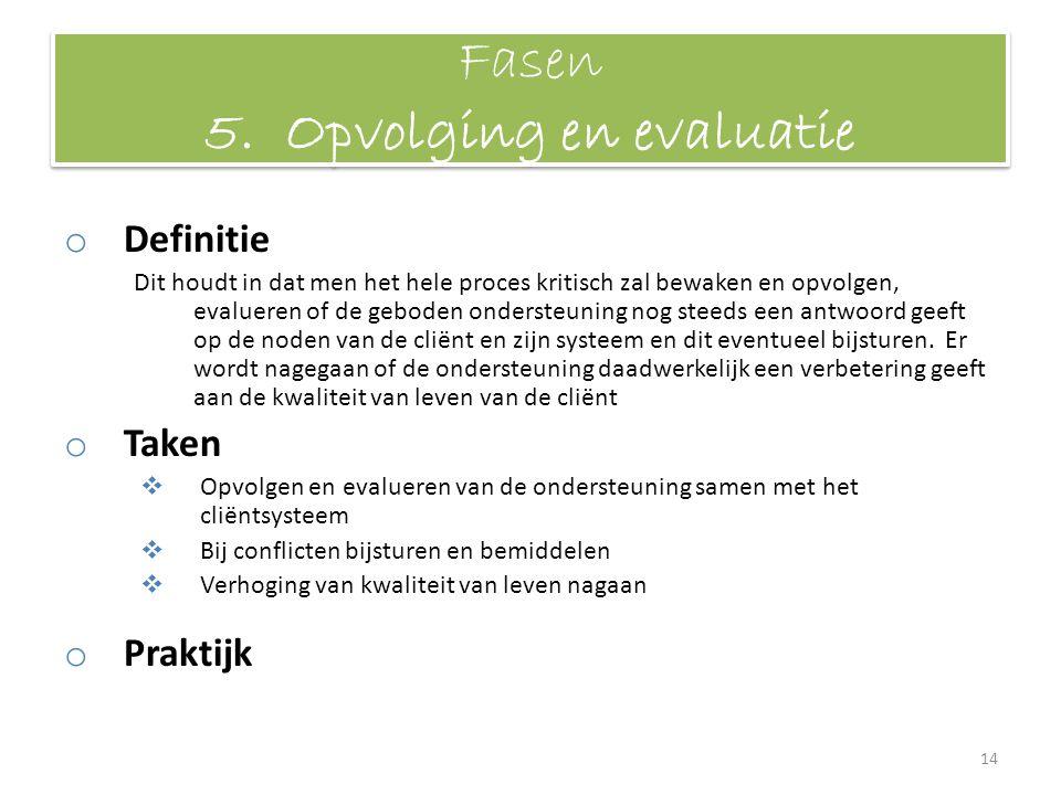 Fasen 5. Opvolging en evaluatie