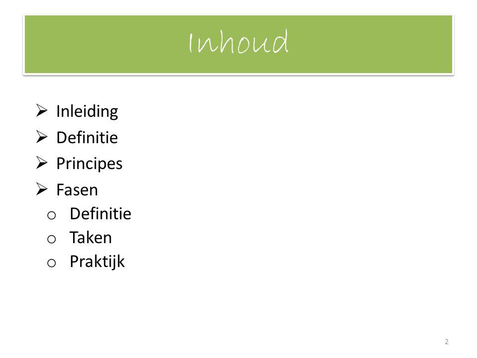 Inhoud Inleiding Definitie Principes Fasen Taken Praktijk