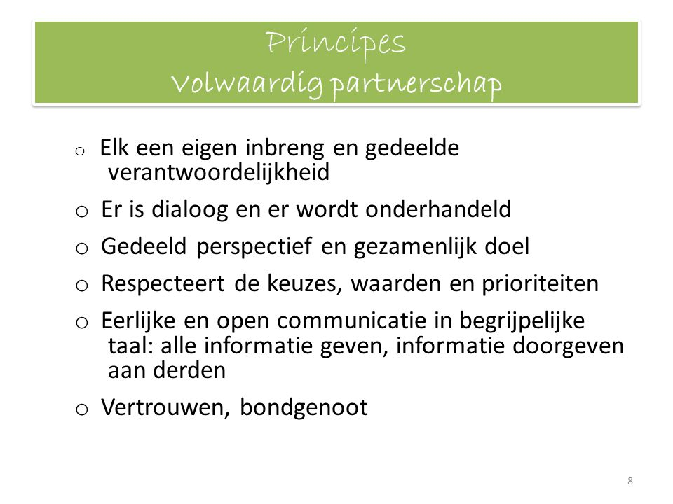 Principes Volwaardig partnerschap